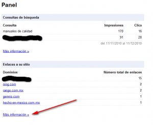 gestion de back links en webmaster tool